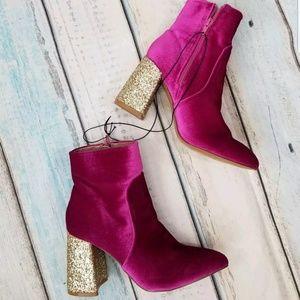 Betsey Johnson Kacey Pink Velvet Glitter Boots